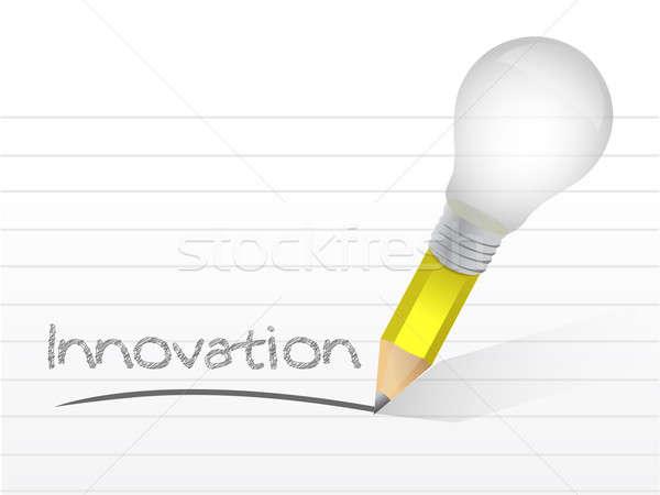 innovation handwritten with a lightbulb pencil Stock photo © alexmillos
