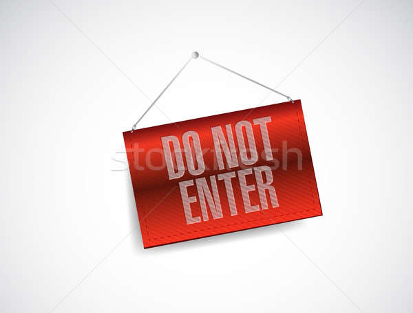 do not enter hanging banner illustration Stock photo © alexmillos