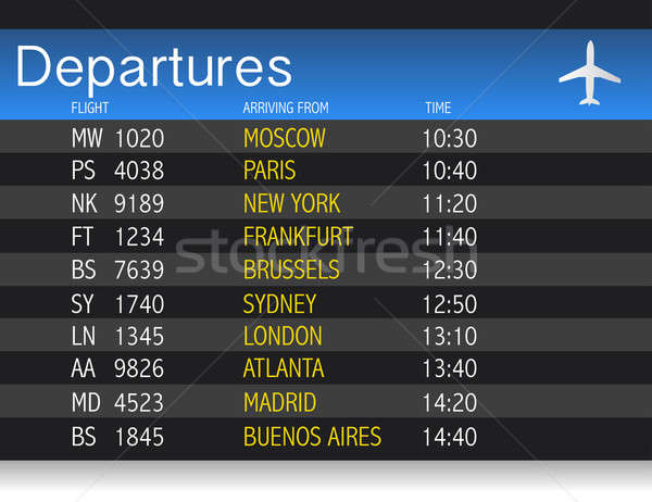 Airport time Departure table illustration design over white Stock photo © alexmillos