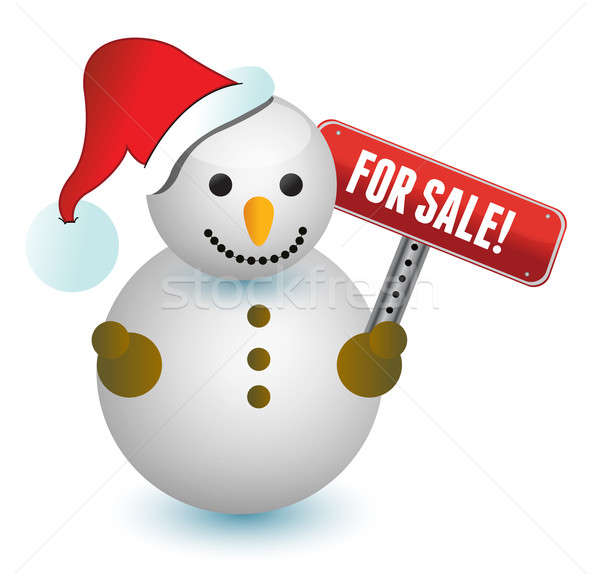 snowman with a for sale sign illustration design on white Stock photo © alexmillos