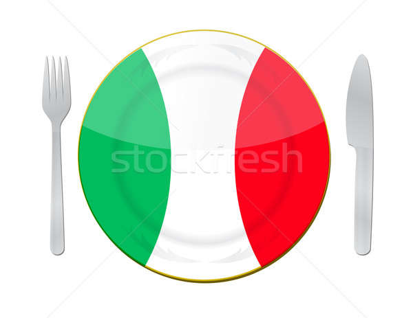 Italian food concept. Knife, plate and fork on a white backgrou Stock photo © alexmillos