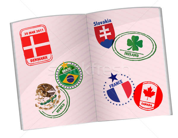 passport illustration design with around the world stamps Stock photo © alexmillos