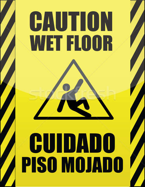 English and Spanish wet floor sign Stock photo © alexmillos