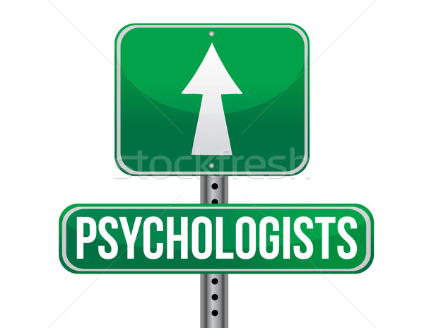 psychologists road sign illustration design over a white backgro Stock photo © alexmillos