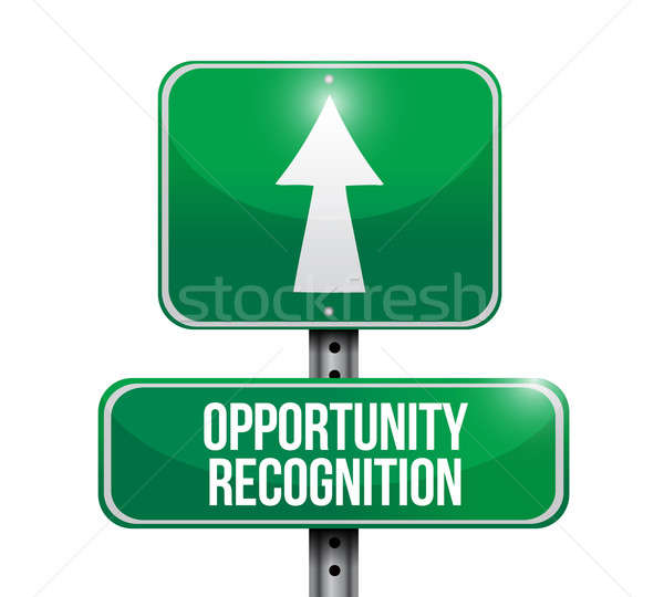 opportunity recognition road sign illustrations design over whit Stock photo © alexmillos