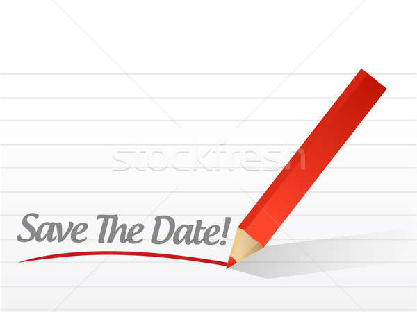 save the date pencil writing over a white paper Stock photo © alexmillos