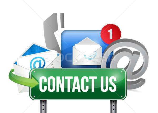 contact us sign and concept illustration design over white Stock photo © alexmillos