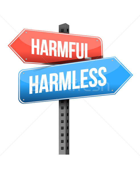 harmful, harmless road sign illustration design over a white bac Stock photo © alexmillos