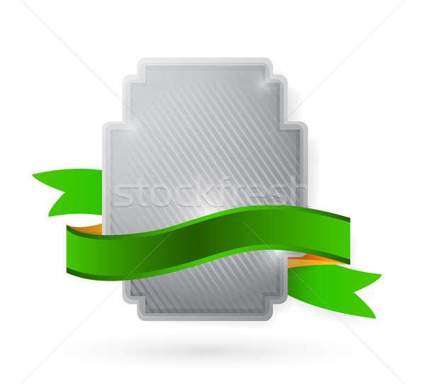 Pajzs illusztráció terv fehér címke kreatív Stock fotó © alexmillos