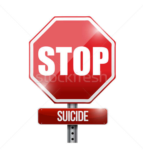 stop suicide road sign illustration design over a white backgrou Stock photo © alexmillos