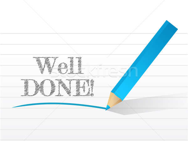 well done in white notepad space illustration design over white Stock photo © alexmillos