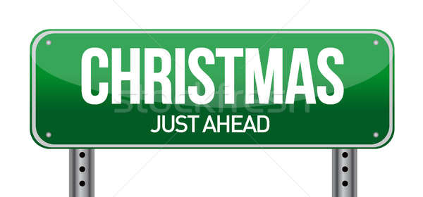 Christmas Road Sign illustration design over a white background Stock photo © alexmillos