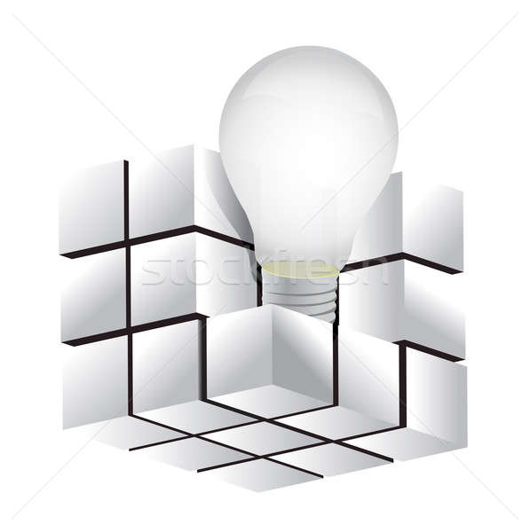 cube with idea symbol illustration design over a white backgroun Stock photo © alexmillos