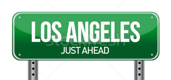 Znak drogowy Los Angeles ilustracja projektu biały krajobraz Zdjęcia stock © alexmillos