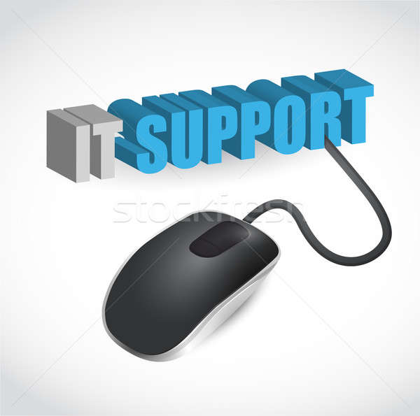 IT support and computer mouse illustration design over white Stock photo © alexmillos