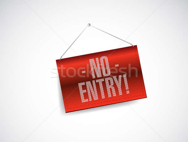 no entry hanging banner illustration design over white backgroun Stock photo © alexmillos