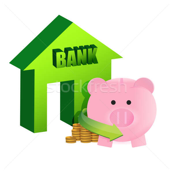 savings on the bank illustration design over a white background Stock photo © alexmillos
