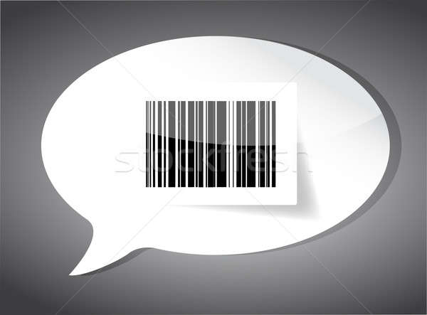 Barcode label inside a speech bubble over black Stock photo © alexmillos