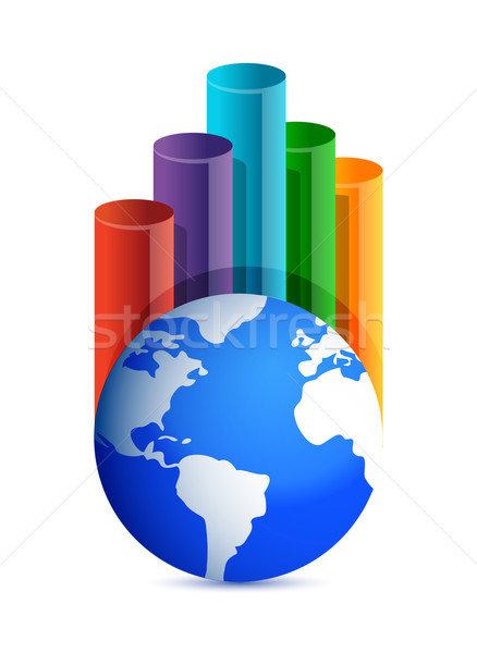 globe business graph illustration design over white background Stock photo © alexmillos
