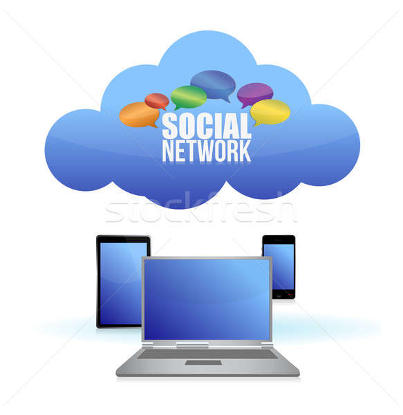 Social media & cloud computing concept Stock photo © alexmillos