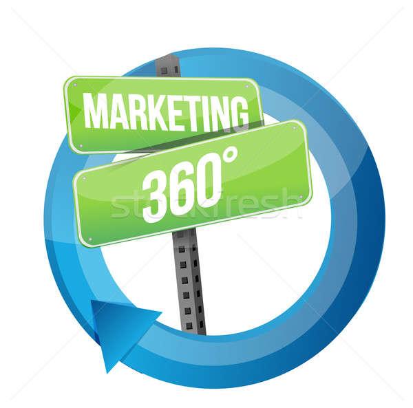 Placa sinalizadora marketing ciclo ilustração projeto metal Foto stock © alexmillos