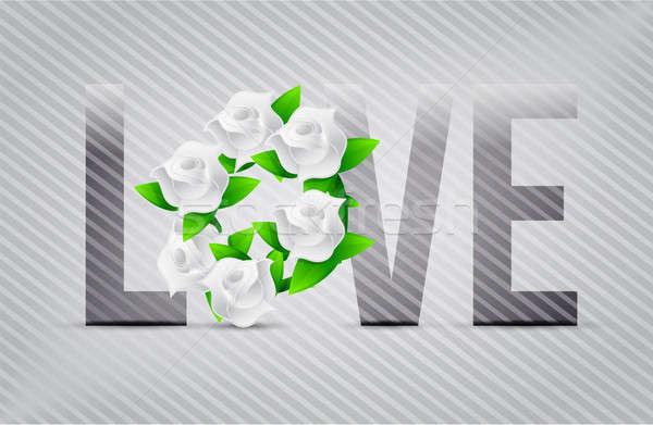Branco amor flores ilustração projetos flor Foto stock © alexmillos