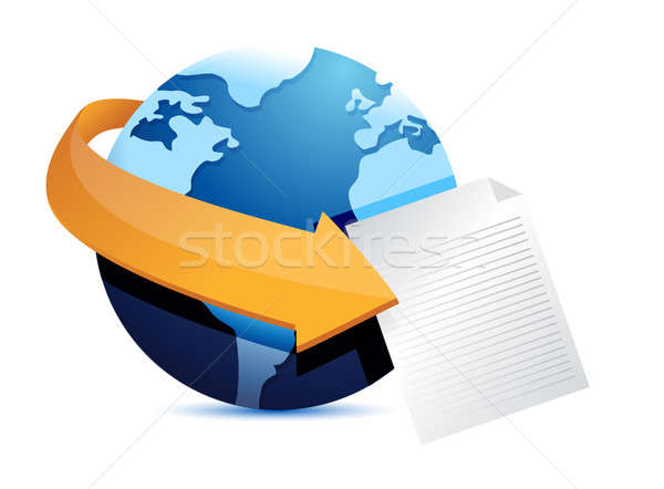 globe arrow and paper illustration design over a white backgroun Stock photo © alexmillos