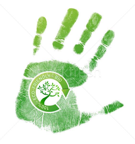 Zöld öko bio földgömb festék nyomtatott Stock fotó © alexmillos