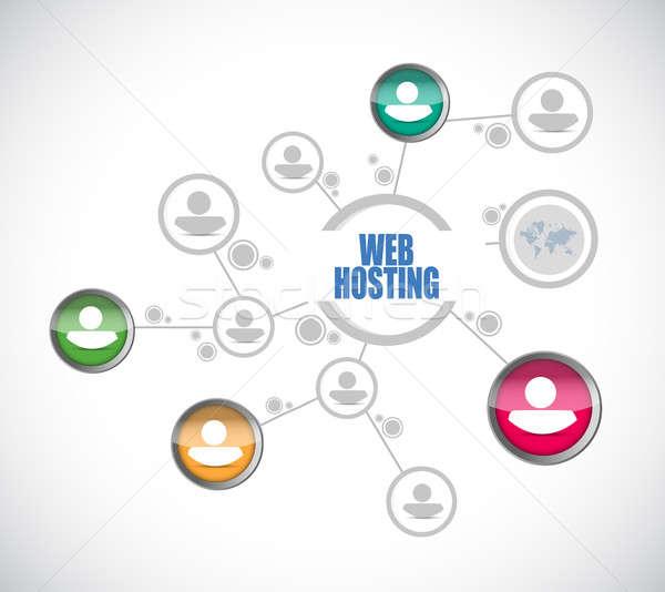 Háló hosting emberek diagram felirat illusztráció Stock fotó © alexmillos