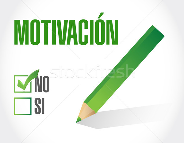 No Motivation industrial gear sign in Spanish Stock photo © alexmillos