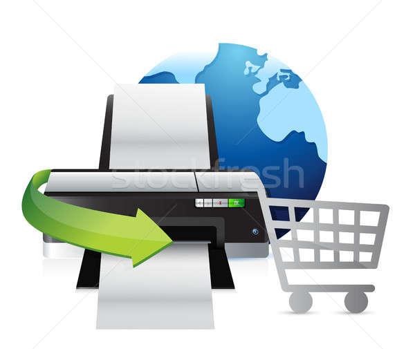 Nyomtató nemzetközi vásárlás illusztráció terv fehér Stock fotó © alexmillos