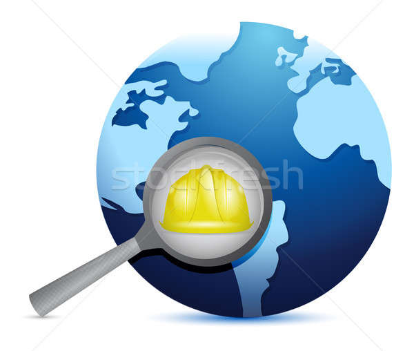 globe and magnify glass under construction Stock photo © alexmillos