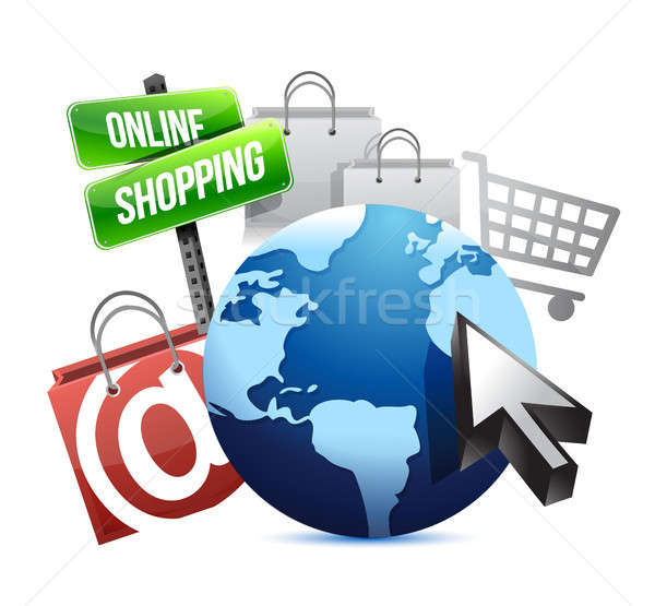 Internazionali shopping online illustrazione design grafica internet Foto d'archivio © alexmillos