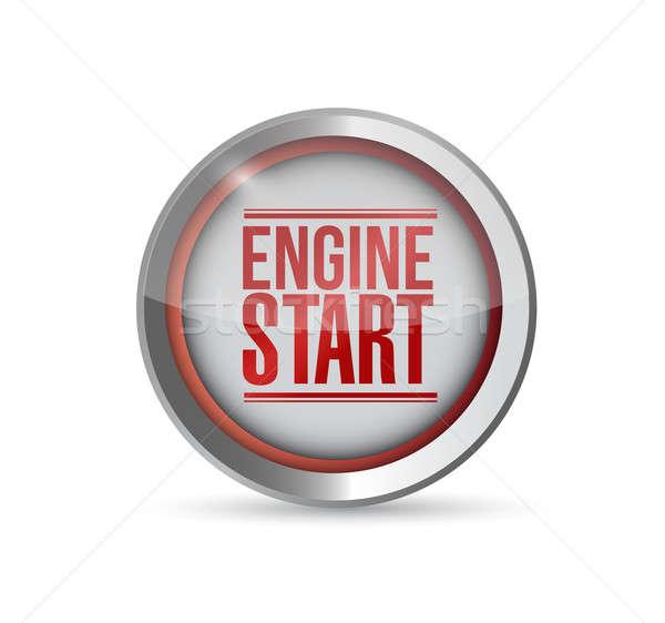 Stock photo: red Start engine button. illustration design