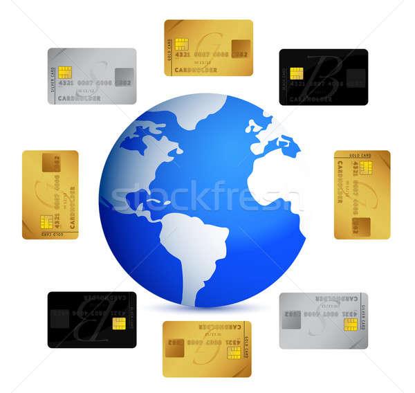 Dünya kredi kartları etrafında örnek dizayn beyaz Stok fotoğraf © alexmillos