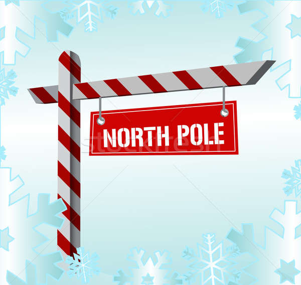 Snow covered sign pointing to the North Pole Stock photo © alexmillos