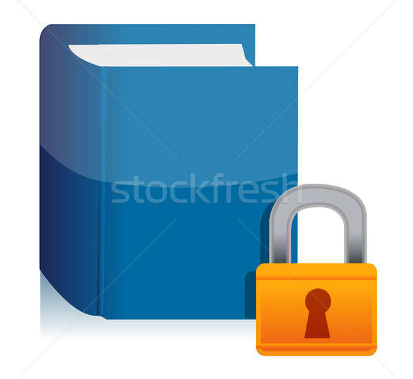 Padlock and the private book illustration Stock photo © alexmillos