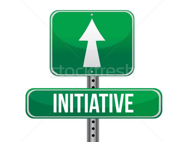 initiative road sign illustration design over a white background Stock photo © alexmillos