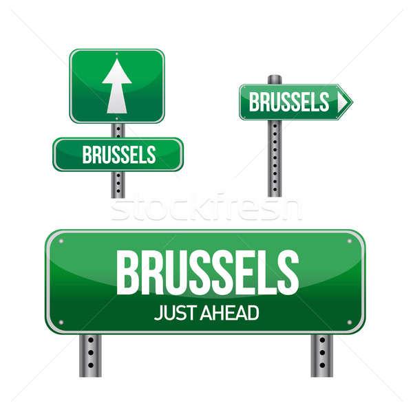Bruselas ciudad senalización de la carretera ilustración diseno blanco Foto stock © alexmillos