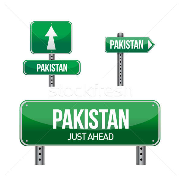 pakistan Country road sign illustration design over white Stock photo © alexmillos