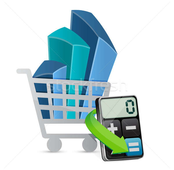 shopping graph and modern calculator illustration design over wh Stock photo © alexmillos