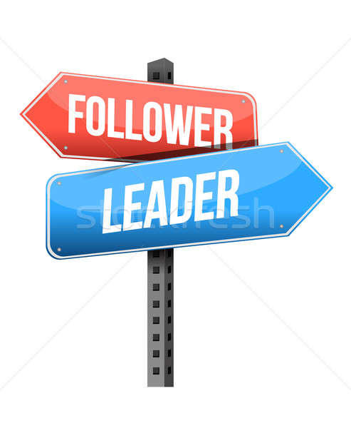 follower, leader road sign illustration design over a white back Stock photo © alexmillos