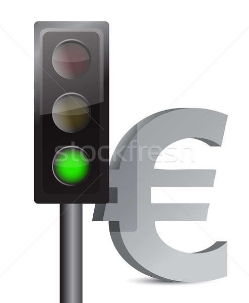green light on euro concept illustration design over white Stock photo © alexmillos
