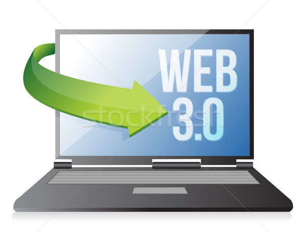 word Web 3.0 on a laptop, seo concept illustration design Stock photo © alexmillos