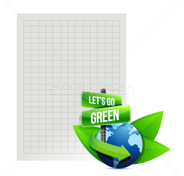 lets go green. recycle paper illustration design over white Stock photo © alexmillos
