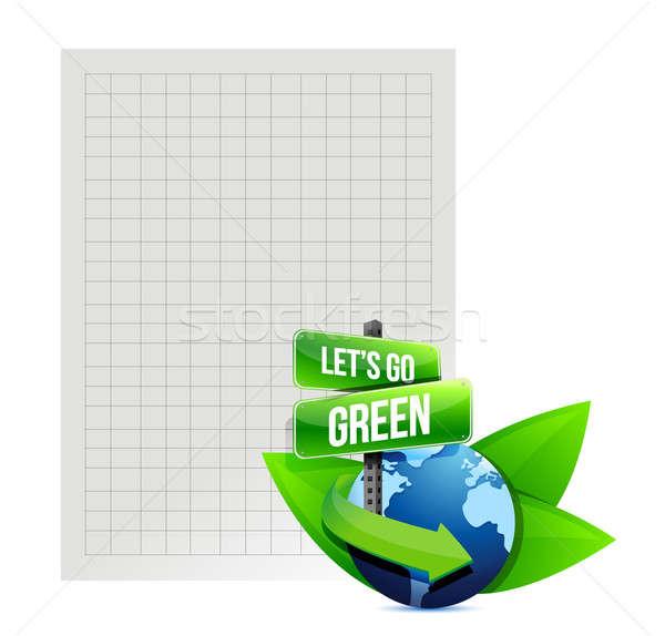 Stock fotó: Zöld · újrahasznosít · papír · illusztráció · terv · fehér