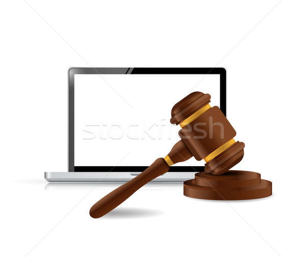 laptop internet law concept illustration design over a white bac Stock photo © alexmillos
