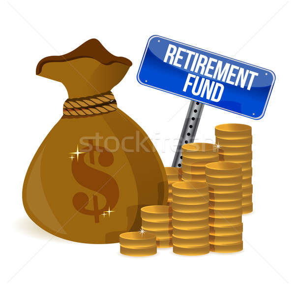 retirement fund money bag illustration design over a white backg Stock photo © alexmillos