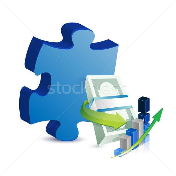 Affaires manquant puzzle pièce banque succès Photo stock © alexmillos