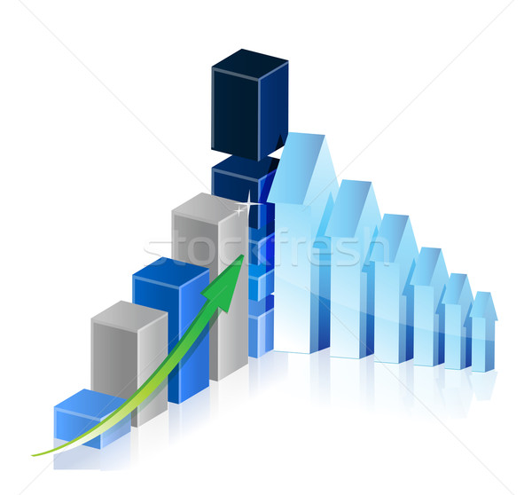 Business Graph with arrows showing profits and gains illustratio Stock photo © alexmillos